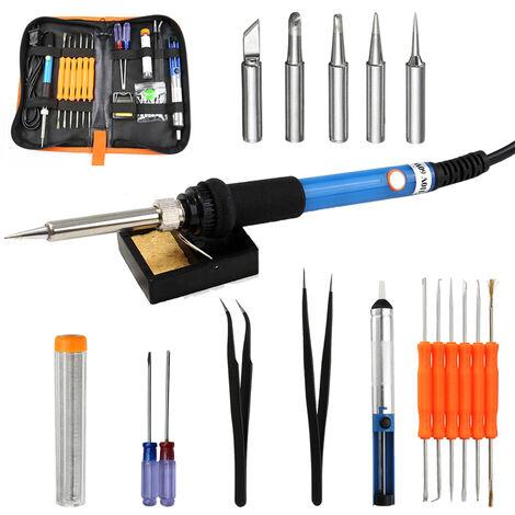 Kit de fer a souder electrique a temperature reglable 60W Kit de pistolet de fer a souder electrique, norme europeenne