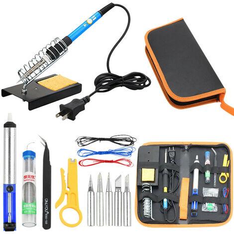 Kit de fer à souder électronique ensemble de soudure d'outil de soudage à température réglable Multicolore