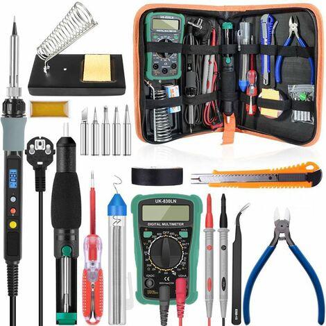 Kit de fer à souder numérique 80 W kit de fer à souder électrique température fer à souder électrique 110 V 220 V multimètre outil de soudage de pompe de dessalement