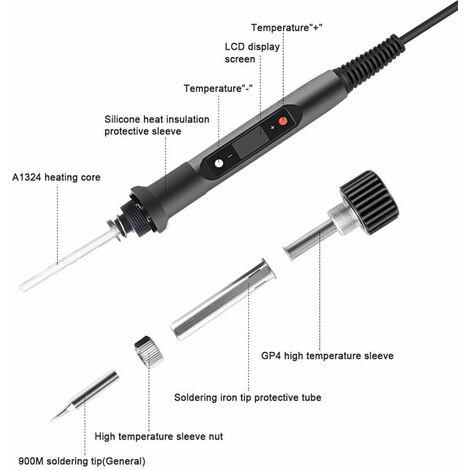 Kit de Fer à Souder,80W 220V Outil de Soudage à Température Réglable à Chauffage Rapide avec 180 ℃ ~ 480 ℃, Affichage LED Numérique, Conseils de Soudure