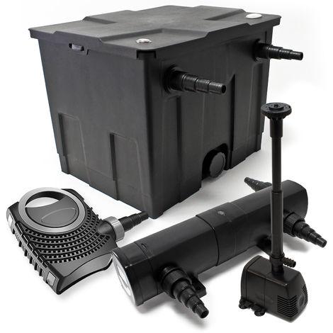 Kit de filtración con Bio Filtro 12000L, 18W Uv clarificador 80W bomba y bomba de fuente Jardin