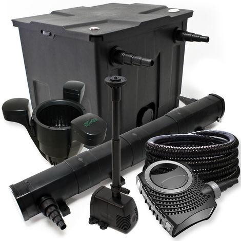 Kit de filtración con Bio Filtro 60000l 36W UV Clarificador 80W bomba Pond y skimmer
