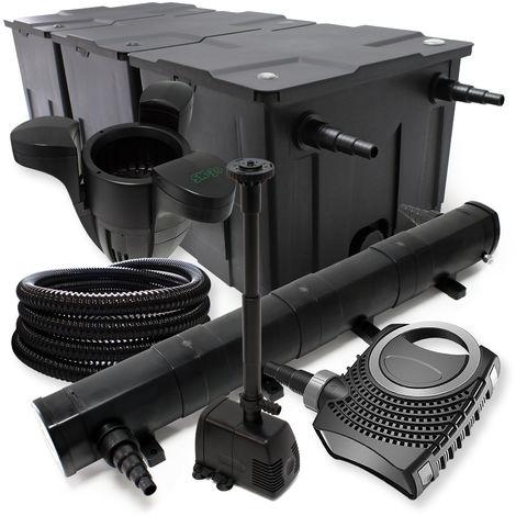 Kit de filtración con Bio Filtro Hasta 90000l UV 72W 80W bomba manguera y bomba de fuente jardin