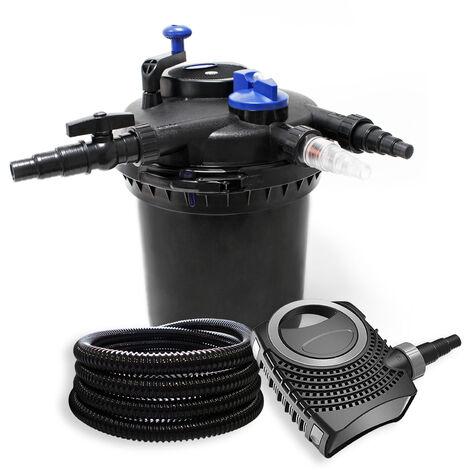 Kit de Filtration à Pression avec 30000l Filtre, 18W UVC Stérilisateur, 70W Pompe et 25m Tuyau