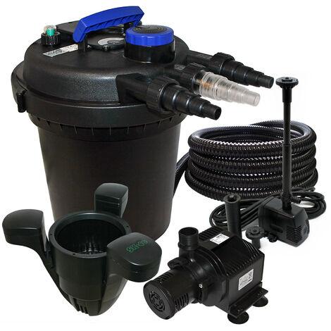 Kit de Filtration à Pression Bassin 6000l Stérilisateur UVC 11W Pompe 25m Tuyau Fontaine Ecumeur 40