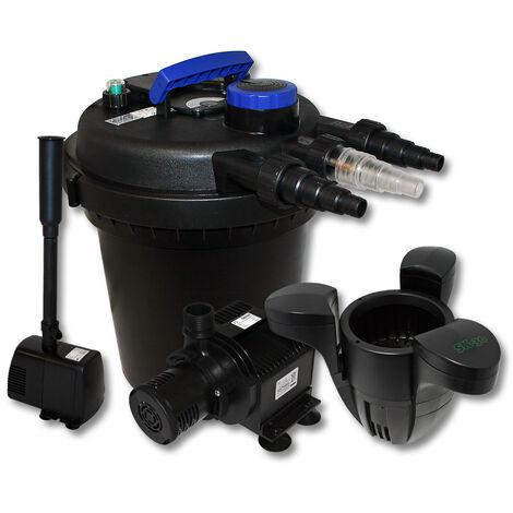 Kit de filtration à pression bio 6000l Stérilisateur Pompe de bassin Pompe de fontaine Ecumeur