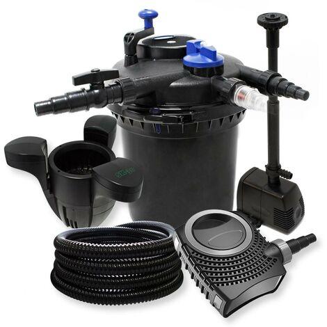 Kit de filtration à pression pour étang ou bassin pompe fontaine + skimmer / 30000L max UVC 18W
