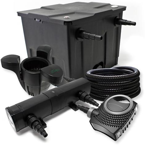 Kit de filtration avec Bio Filtre 12000l, 18W UV Stérilisateur, 80W Pompe, 25m Tuyau et Skimmer