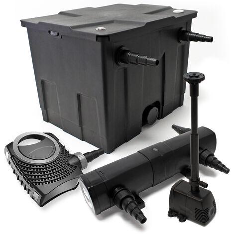 Kit de filtration avec Bio Filtre 12000l, 18W UV Stérilisateur, 80W Pompe et Pompe de Fontaine