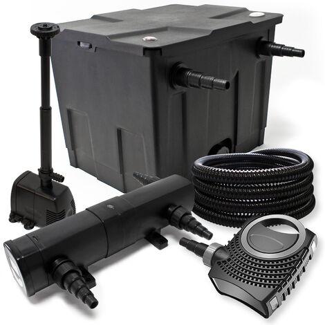 Kit de filtration avec Bio Filtre 12000l, 24W UV Stérilisateur, 80W Pompe et Pompe de Fontaine