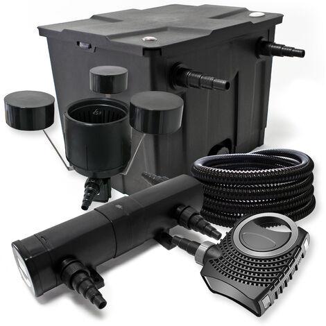 Kit de filtration avec Bio Filtre 12000l, 36W UV Stérilisateur, 80W Pompe, 25m Tuyau et Skimmer