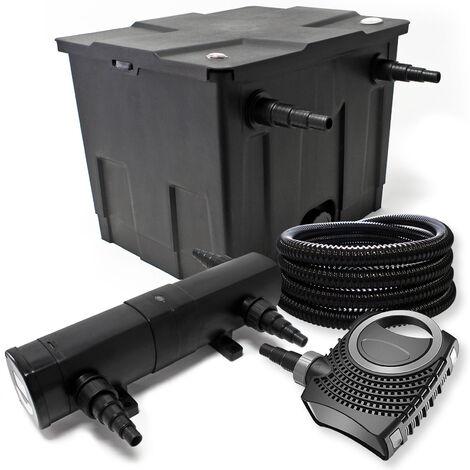 Kit de filtration avec Bio Filtre 12000l, 36W UV Stérilisateur, 80W Pompe et 25m Tuyau