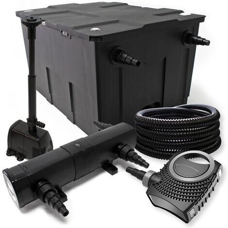 Kit de filtration avec Bio Filtre 12000l, 72W UV Stérilisateur, 80W Pompe, 25m Tuyau et Skimmer