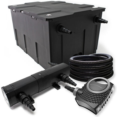 Kit de filtration avec Bio Filtre 12000l, 72W UV Stérilisateur, Pompe, Tuyau et Pompe de Fontaine