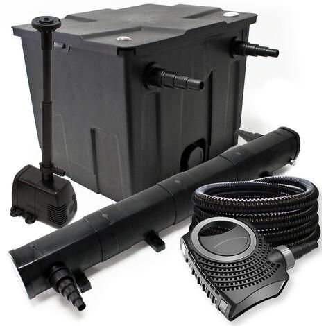 Kit de filtration avec Bio Filtre 60000l, 18W UV Stérilisateur, 80W Pompe, 25m Tuyau et Skimmer