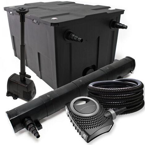 Kit de filtration avec Bio Filtre 60000l, 72W Stérilisateur, 80W Pompe, Tuyau et Pompe de Fontaine