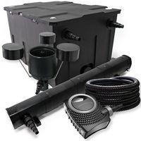 Kit de filtration avec Bio Filtre 60000l, 72W UVStérilisateur, Pompe de bassin, Skimmer et Tuyau