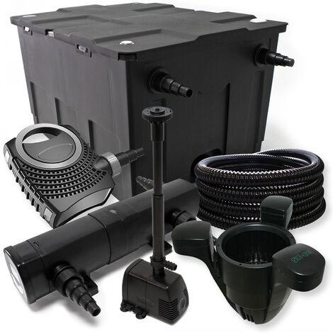 Kit de filtration avec Bio Filtre 60000l, Pompe éco, 24W UV Stérilisateur et 25m Tuyau