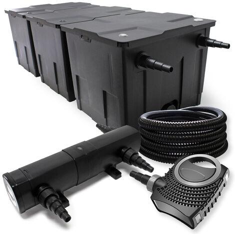 Kit de Filtration avec Bio Filtre 90000l, UVC Stérilisateur 18W, 80W Pompe et 25m Tuyau