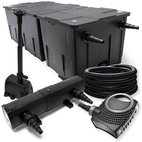 Kit de Filtration avec Bio Filtre 90000l, UVC Stérilisateur 36W, 80W Pompe et Pompe de Fontaine