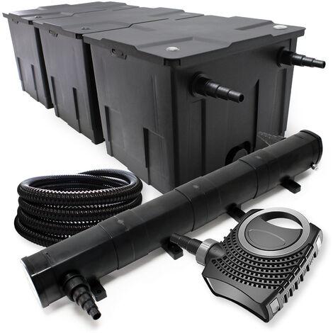 Kit de Filtration avec Bio Filtre 90000l, UVC Stérilisateur 72W, 80W Pompe, 25m Tuyau