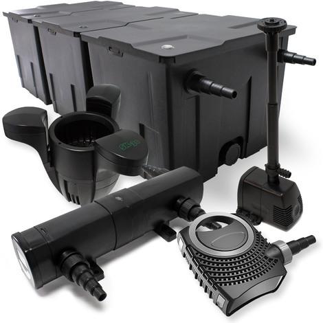 Kit de Filtration Bassin 90000l Stérilisateur UVC 18W 80W Pompe éco Fontaine Ecumeur