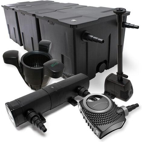 Kit de Filtration Bassin 90000l Stérilisateur UVC 24W 80W Pompe éco Fontaine Ecumeur