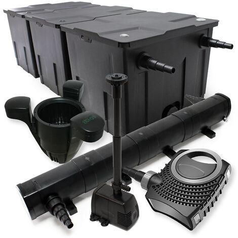 Kit de Filtration Bassin 90000l Stérilisateur UVC 72W 80W Pompe éco Fontain Ecumeur
