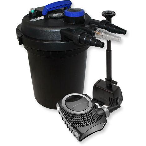 Kit de Filtration Bassin à pression 6000l Stérilisateur UVC 11W 70W Pompe éco Fontaine