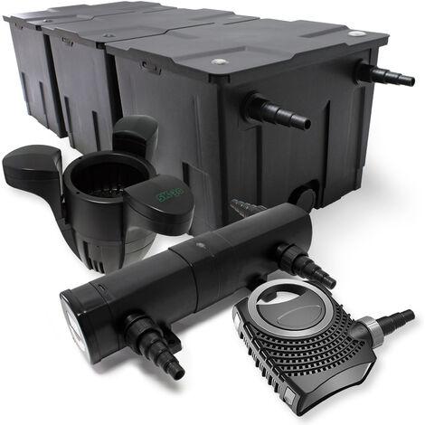 Kit de Filtration Bassin Bio 90000l Stérilisateur UVC 18W 80W Pompe éco Ecumeur