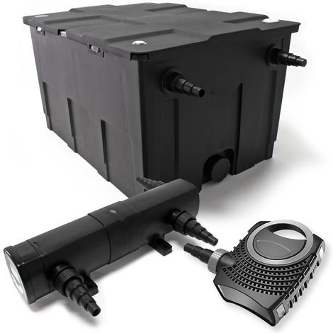 Kit de Filtration Bassin Bio Filtre 60000l 80W Pompe éco Stérilisateur Bassin 24W
