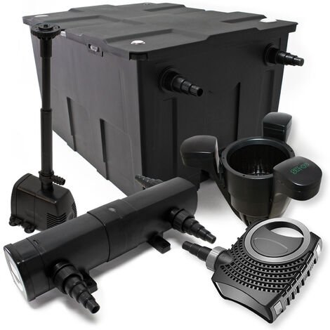 Kit de Filtration Bassin Bio Filtre 60000l 80W Pompe Stérilisateur UVC 24W Fontaine Ecumeur