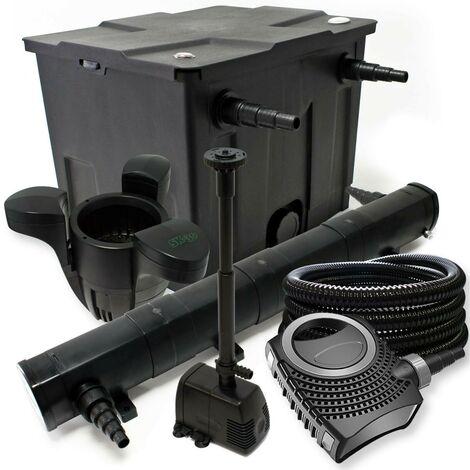 Kit de filtration biologique 72w bassin 12000 L+ tuyau, skimmer et pompe fontaine