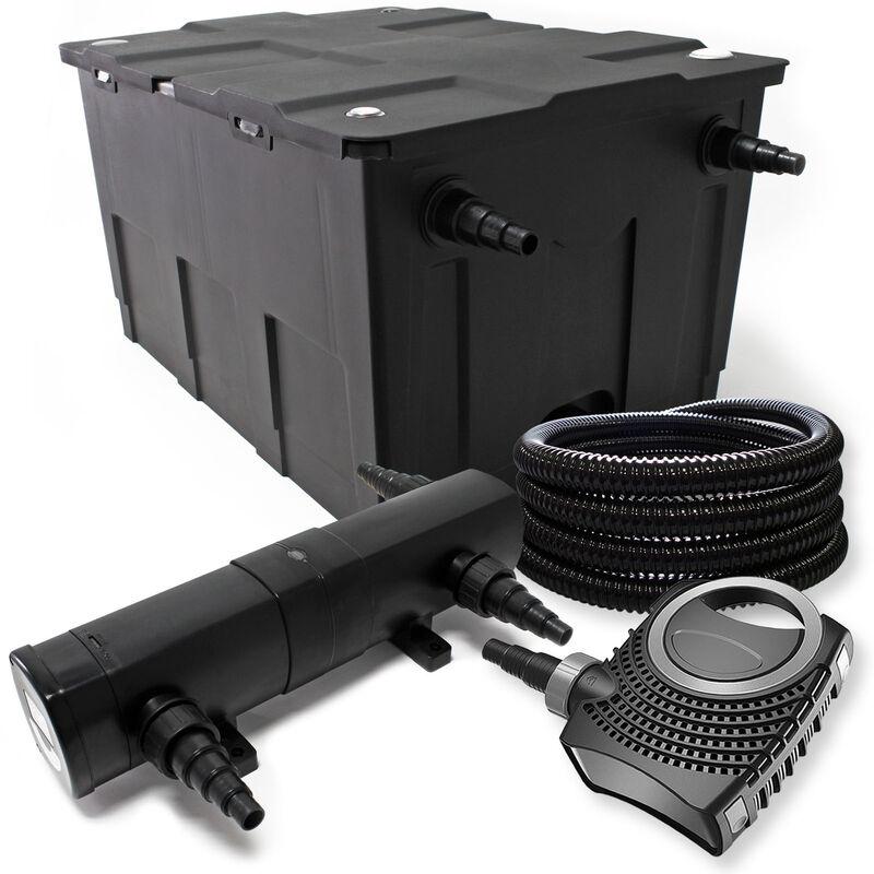 Wiltec - Pond Kit de filtration avec 12000l, 72W UV Stérilisateur, Pompe, Tuyau, Skimmer et Pompe de Fontaine