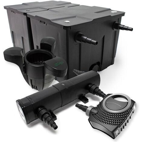 Kit de Filtration de Bassin Bio Filtre 60000l Stérilisateur UVC 18W 80W Pompe éco Ecumeur