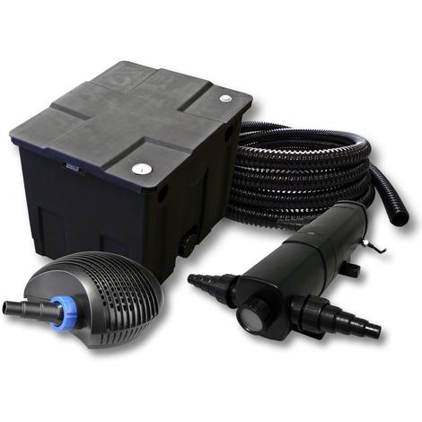 Kit de filtration de bassin pour 12000l avec 18W Stérilisateur et CTF éco Pompe avec 40W 25m Tuyau
