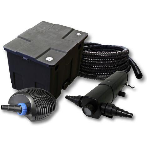 Kit de filtration de bassin pour 12000l avec 24W Stérilisateur et CTF éco Pompe avec 40W 25m Tuyau