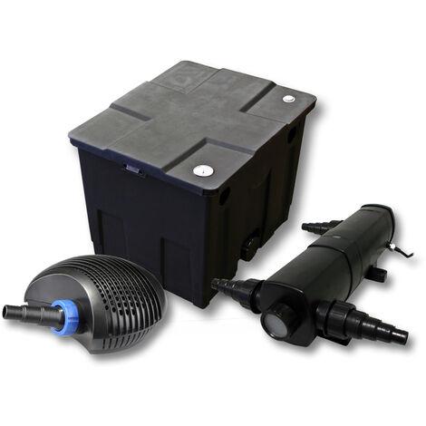 Kit de filtration de bassin pour 12000l avec 24W Stérilisateur et CTF éco Pompe avec 40W