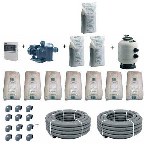 Kit de filtration pour piscine avec bassin de 10 x 5 m jusqu'à 80 m3