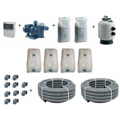 Kit de filtration pour piscine avec bassin de 8 x 4 m jusqu'à 60 m3