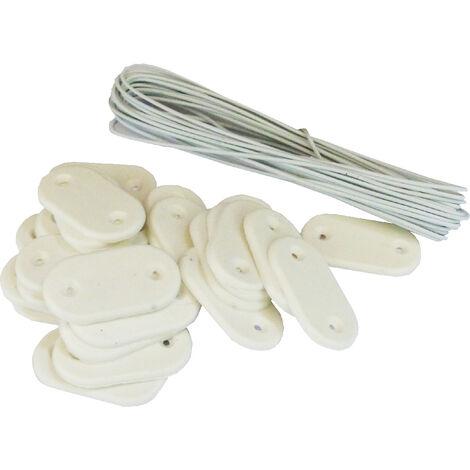 Kit de fixation Brise-vue - Lot de 20 kits (26 pastilles + 4m de fil par kit) Blanc Lot de 20 kits - Blanc