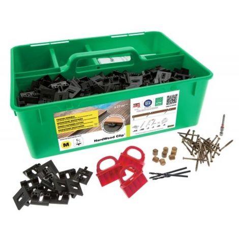 Kit de fixation invisible inox A2 Hardwood Clip pour lames 140mm maxi coffret de 450 clips et 500 vis 4x45mm