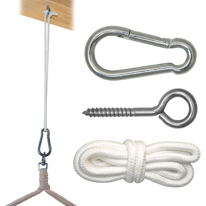 Kit de Fixation pour Fauteuil Suspendu | Kit pour accrocher chaise hamac balancelle à pendre | Métal Robuste | Incl Corde Mousqueton Vis à Anneau |