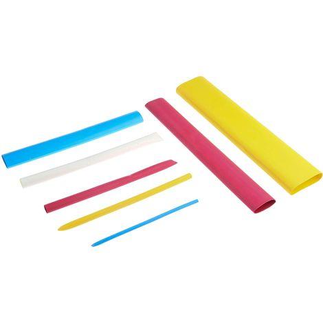 Kit de gaines thermorétractables RS PRO, Dia. 3mm Bleu, rouge, blanc, jaune rétreint 3:1, adhésive