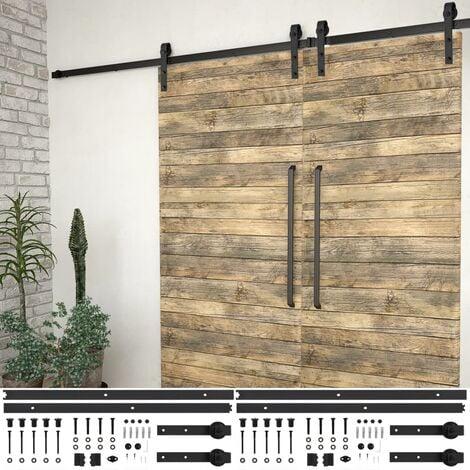Kit de herrajes de puertas correderas acero negro 2 uds 200 cm - Negro