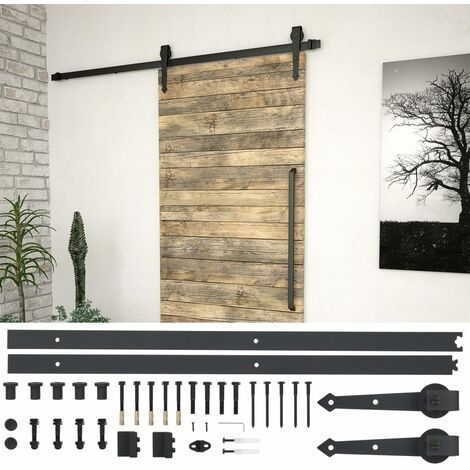Kit de herrajes para puerta corredera 183 cm acero negro - Negro