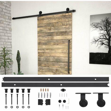 Kit de herrajes para puerta corredera acero negro 183 cm - Negro