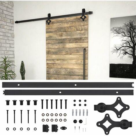 Kit de herrajes para puertas correderas acero negro 183 cm - Negro