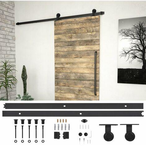 Kit de herrajes para puertas correderas acero negro 200 cm - Negro