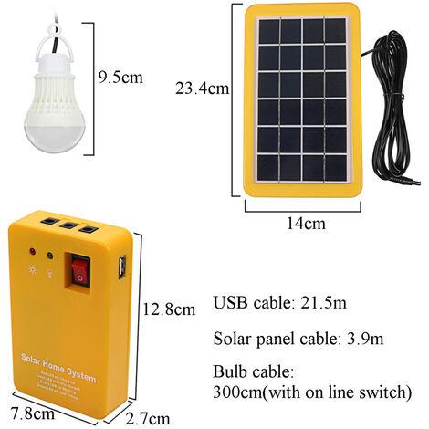 Kit de iluminación para panel solar, kit de sistema solar doméstico de CC, cargador solar 4 en 1 con 2 bombillas LED como iluminación de emergencia y cargador de teléfono móvil con banco de energía del generador, para acampar al aire libre con iluminación